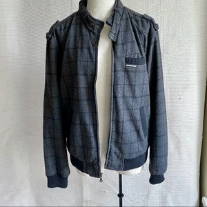 Members Only M Wool Plaid Bomber Jacket Grey